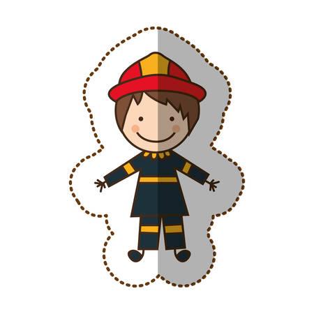 Feliz hombre bombero icono, ilustración vectorial diseño Vectores