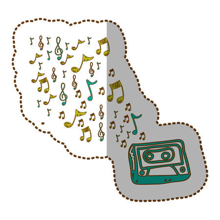 radio technology with notes music icon, vector illustration design Illustration