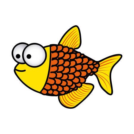 幸せな魚の鱗漫画アイコン、ベクトル イラスト デザイン