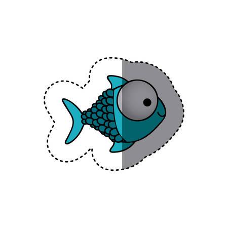 koi: blue happy fish scales cartoon icon, vector illustration design
