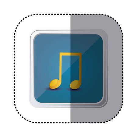 crotchet: Blue symbol music sign icon, vector illustration design