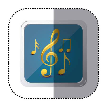 semiquaver: Blue symbol music sign icon, vector illustration design
