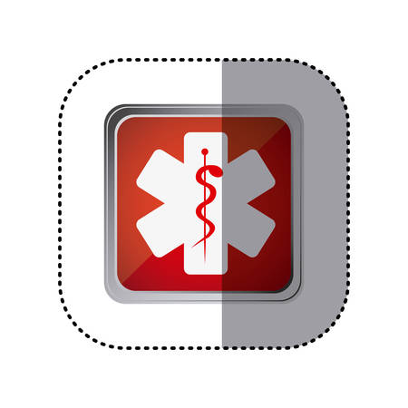 esculapio: red emblem star medicine sign, vector illustration design Vectores