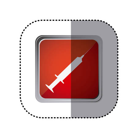 flu shot: red emblem syringe icon, vector illustration design Illustration