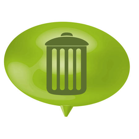 thought balloon: green bubble can trash icon, vector illustration design