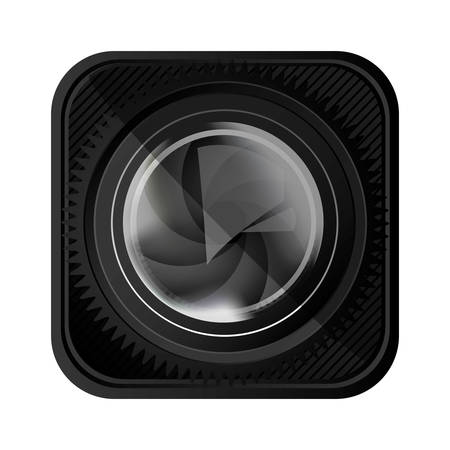 black lens camera icon, vector illustration design