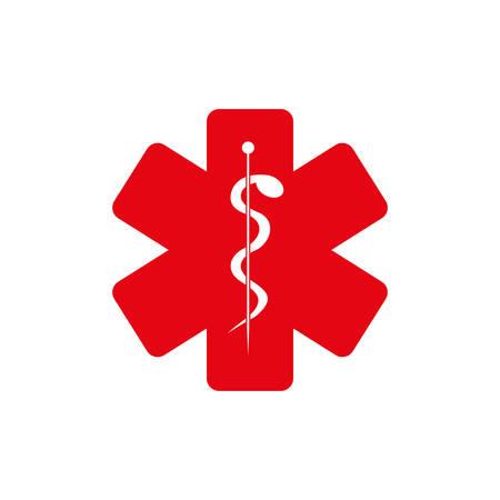 red medice sign inside of star, vector illustration design Illustration