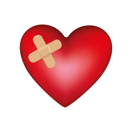 systole: heart with aid band icon, vector illustration design