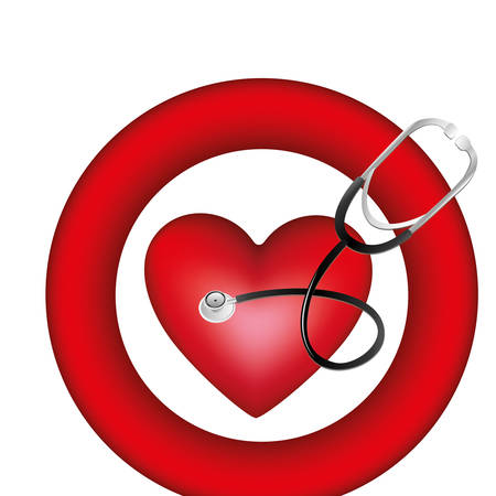 symbol heart with stethoscope icon, vector illustration design Иллюстрация