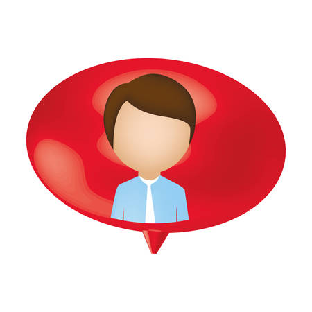 man person inside chat bubble, vector illustration design
