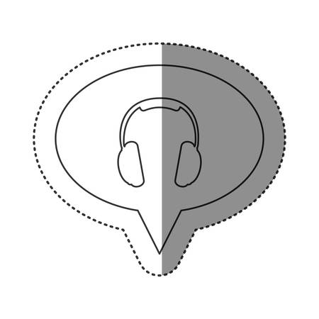 computer operator: sticker of monochrome contour of oval speech with headset icon vector illustration Illustration