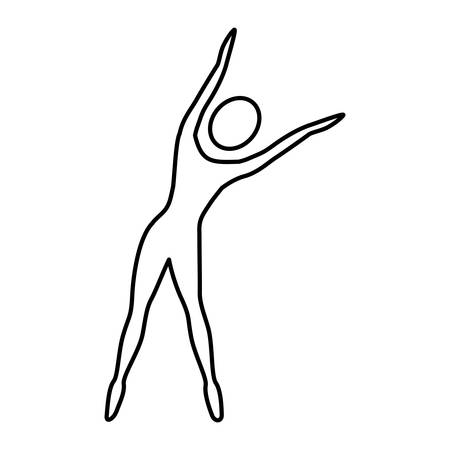 Silhouette woman stretching right side vector illustration Illustration