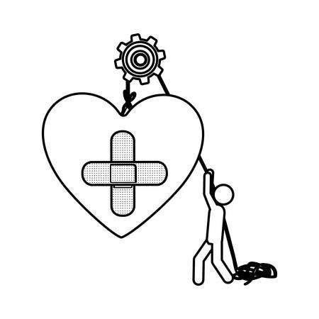 first form: Silhouette worker with pulley holding heart band aid in cross form vector illustration