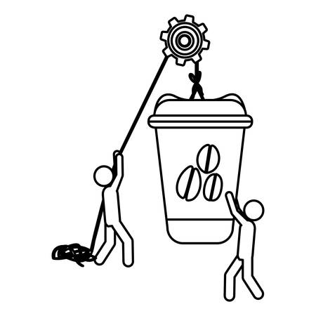 Silhouette workers with pulley holding big disposable for hot drinks with lid vector illustration