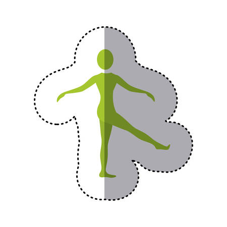 sticker green silhouette woman standing stretching leg vector illustration