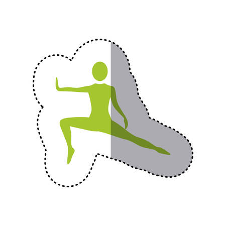 sticker green silhouette woman stretching leg side left vector illustration