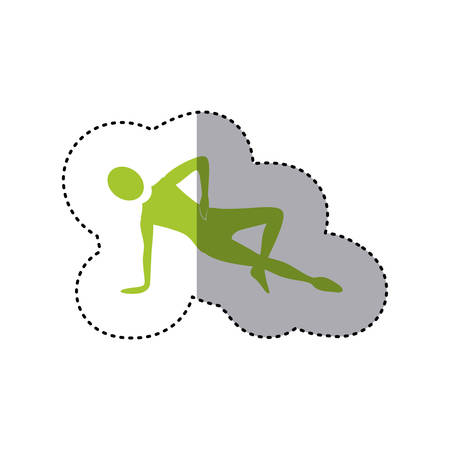 sticker green silhouette woman stretching with support in one hand vector illustration