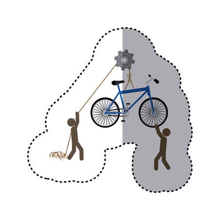 polea: sticker colorful workers with pulley holding bicycle vector illustration Vectores