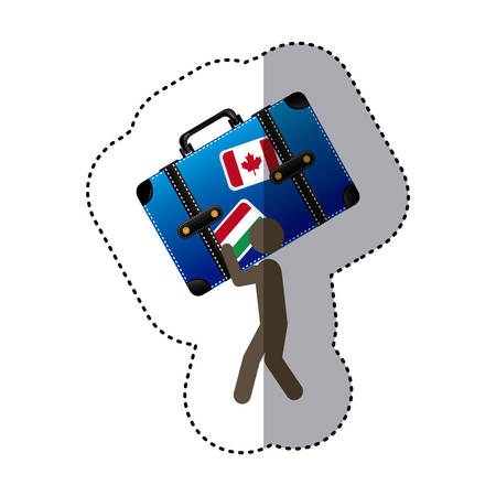 lift up: sticker colorful worker holding up travel luggage vector illustration