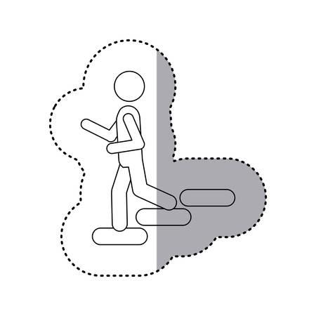 bajando escaleras: pegatina pictograma contorno bajar escaleras ilustración vectorial