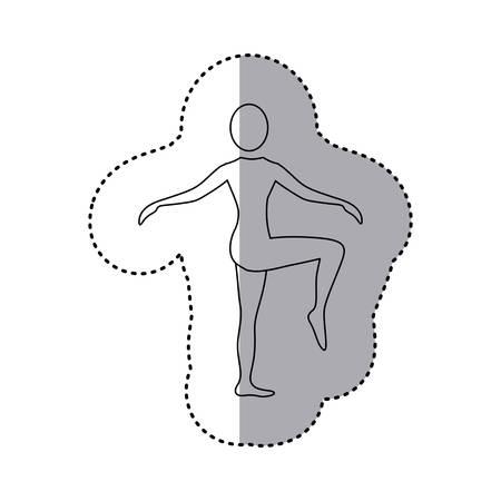sticker silhouette woman standing bending knee vector illustration Illustration