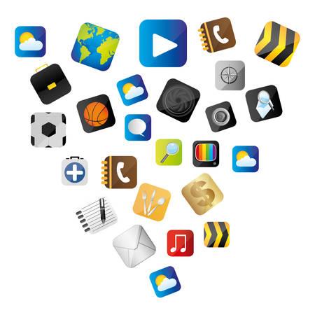 set buttons variety global communicate elements vector illustration Illustration