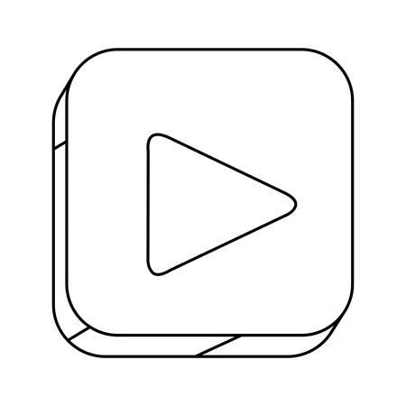 silhouette contour: square silhouette button with contour play button vector illustration