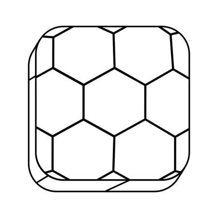 silhouette contour: square silhouette button with contour soccer shape ball vector illustration Illustration