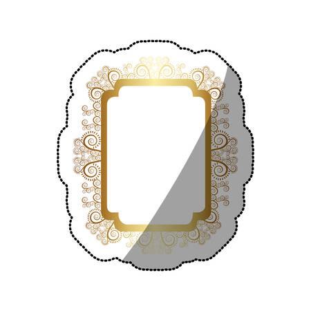 sticker golden curved rectangle vintage baroque frame vector illustration Illustration