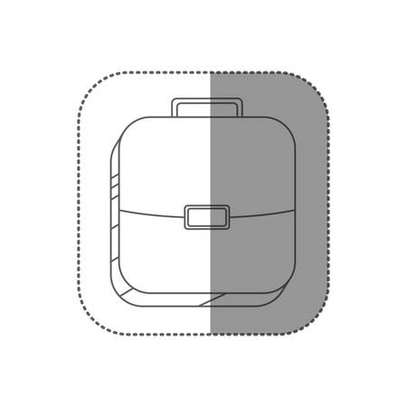 handgrip: sticker square silhouette button with briefcase vector illustration Illustration