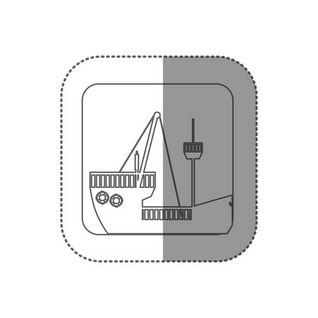 silhouette contour: sticker square silhouette button with contour travel ship vector illustration Illustration