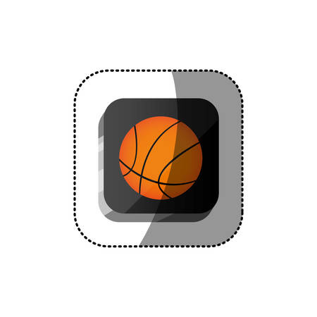 nba: sticker color square 3d button with basketball ball vector illustration