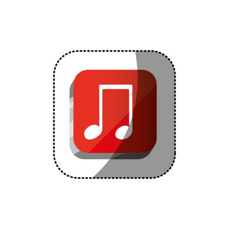 sticker color square 3d button with musical note vector illustration Illustration