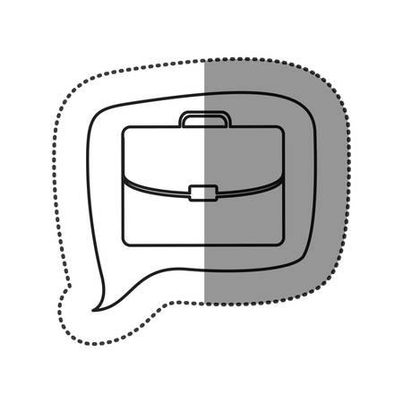 handgrip: monochrome contour sticker with executive suitcase icon in square speech vector illustration