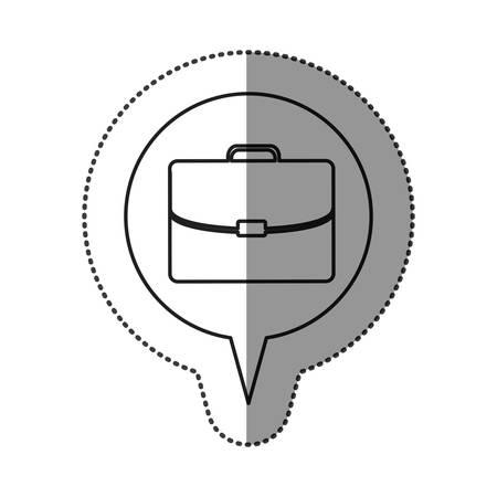 handgrip: monochrome contour sticker with executive suitcase icon in circular speech vector illustration