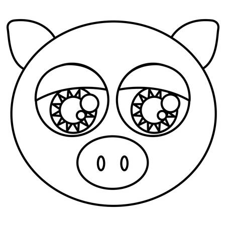 animal eyes: sketch silhouette face cute pig animal with big eyes vector illustration Illustration