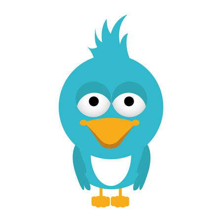 eyes are closed: blue caricature bird animal with closed wings vector illustration Illustration