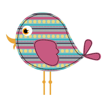 colorful side view bird texture dots and lines design vector illustration Illustration