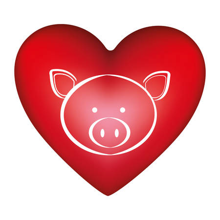 red heart shape with silhouette face cute pig animal vector illustration Illustration