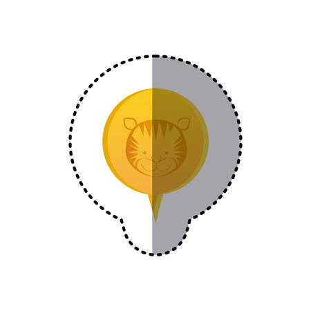 color sticker with tiger face in circular speech vector illustration Illustration