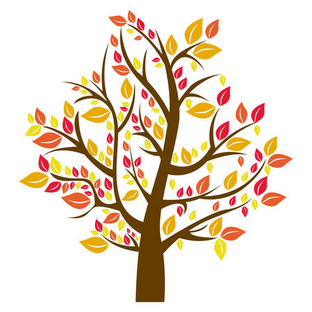 silhouette tree in fall season vector illustration