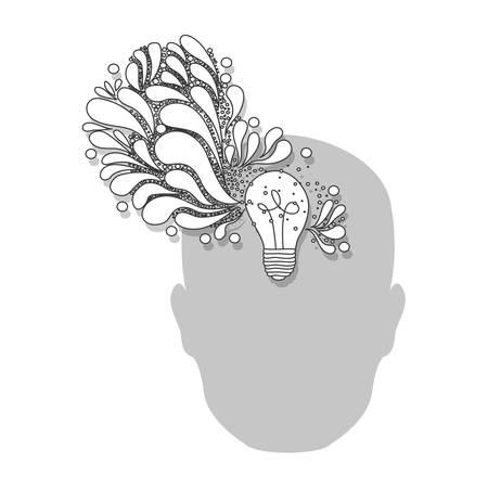 ac: Ac person with bulb brain icon, vector illustration design on white background.