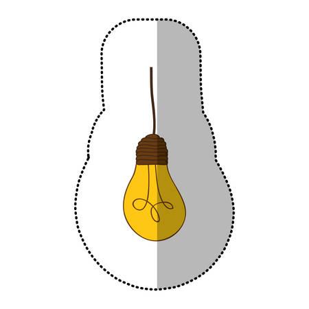 Yellow light bulb hanging icon, vector illustration design