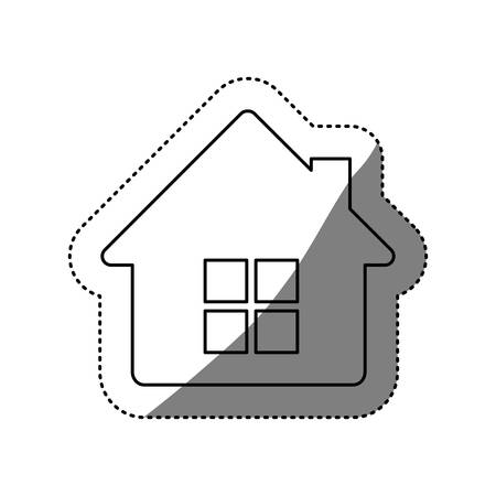 building site: figure house with window and chimney, vector illustration design