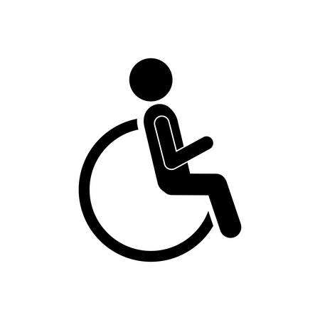 reclining: person sitting in wheelchair icon, vector illustration design
