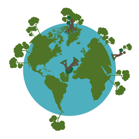 pianeta terra con alberi e persone in 3d, disegno di illustrazione vettoriale