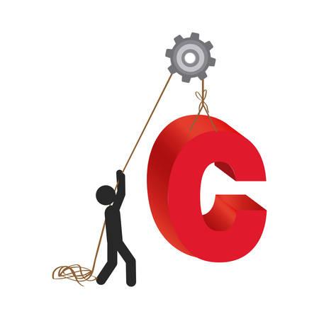 poleas: persona con poleas colgando el símbolo c, diseño de ilustración vectorial Vectores
