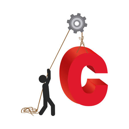 person with pulleys hanging the c symbol, vector illustration design