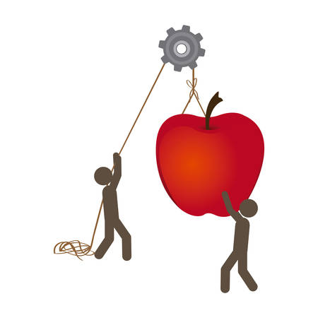 people with pulleys hanging the apple fruit, vector illustration design Illustration