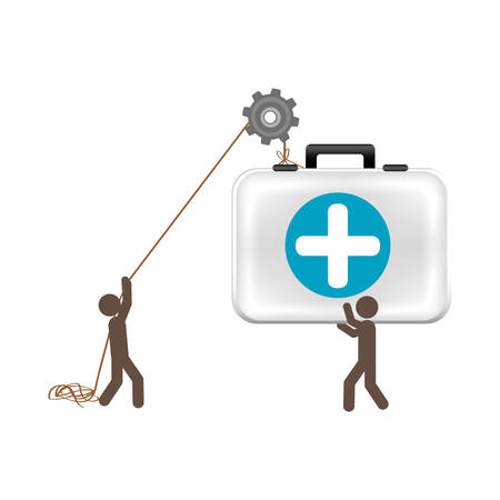 people with pulleys hanging the aid kit, vector illustration Illustration